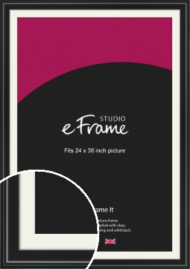 Raised Outer Edge Smooth Black Picture Frame & Mount, 24x36