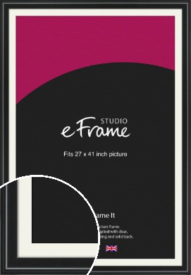 Raised Outer Edge Smooth Black Picture Frame & Mount, 27x41