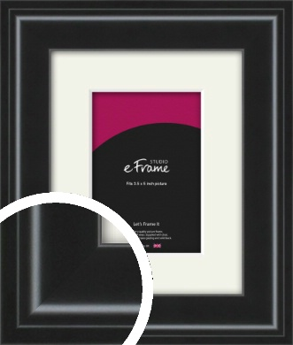 Raised Outer Edge Smooth Black Picture Frame & Mount, 3.5x5