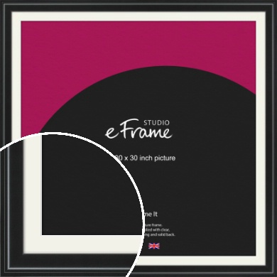Raised Outer Edge Smooth Black Picture Frame & Mount, 30x30