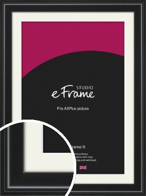 Raised Outer Edge Smooth Black Picture Frame & Mount, A3Plus (VRMP-1298-M-329x483mm)