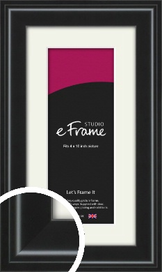 Raised Outer Edge Smooth Black Picture Frame & Mount, 4x10
