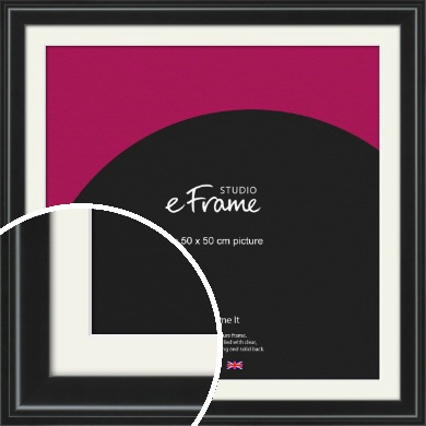 Raised Outer Edge Smooth Black Picture Frame & Mount, 50x50cm (VRMP-1298-M-50x50cm)