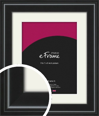 Raised Outer Edge Smooth Black Picture Frame & Mount, 7x9