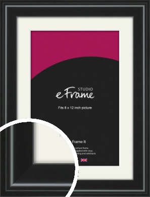 Raised Outer Edge Smooth Black Picture Frame & Mount, 8x12