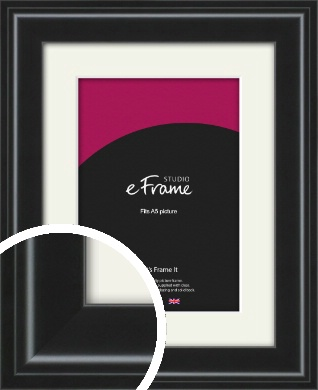 Raised Outer Edge Smooth Black Picture Frame & Mount, A5 (148x210mm) (VRMP-1298-M-A5)