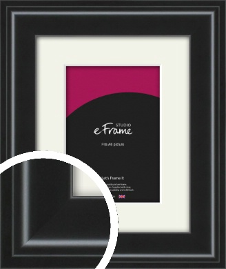 Raised Outer Edge Smooth Black Picture Frame & Mount, A6 (105x148mm) (VRMP-1298-M-A6)