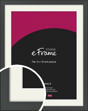 Clean Tapered Black Picture Frame & Mount, 12x16