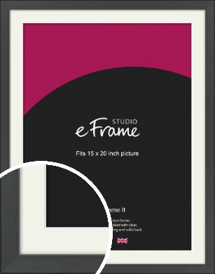 Clean Tapered Black Picture Frame & Mount, 15x20