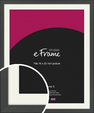 Clean Tapered Black Picture Frame & Mount, 16x20