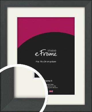 Clean Tapered Black Picture Frame & Mount, 18x24cm (VRMP-1299-M-18x24cm)
