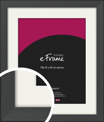 Clean Tapered Black Picture Frame & Mount, 20x25cm (8x10