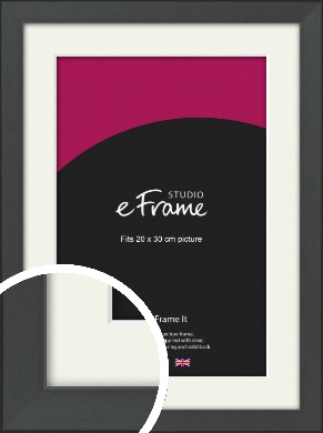 Clean Tapered Black Picture Frame & Mount, 20x30cm (8x12