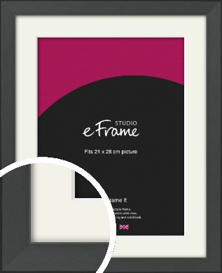 Clean Tapered Black Picture Frame & Mount, 21x28cm (VRMP-1299-M-21x28cm)