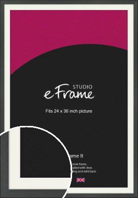 Clean Tapered Black Picture Frame & Mount, 24x36