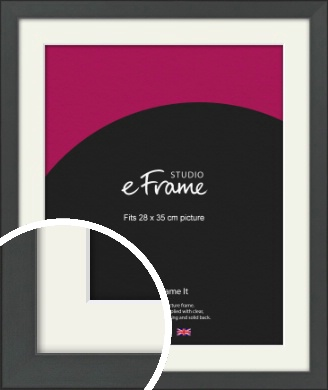 Clean Tapered Black Picture Frame & Mount, 28x35cm (VRMP-1299-M-28x35cm)