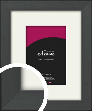 Clean Tapered Black Picture Frame & Mount, 3.5x5