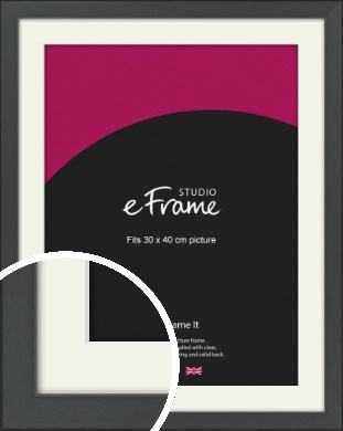 Clean Tapered Black Picture Frame & Mount, 30x40cm (VRMP-1299-M-30x40cm)