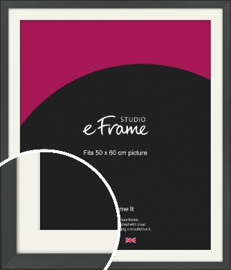 Clean Tapered Black Picture Frame & Mount, 50x60cm (VRMP-1299-M-50x60cm)