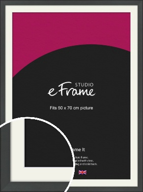 Clean Tapered Black Picture Frame & Mount, 50x70cm (VRMP-1299-M-50x70cm)