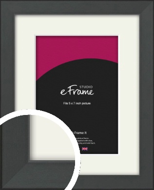 Clean Tapered Black Picture Frame & Mount, 5x7
