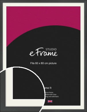 Clean Tapered Black Picture Frame & Mount, 60x80cm (VRMP-1299-M-60x80cm)
