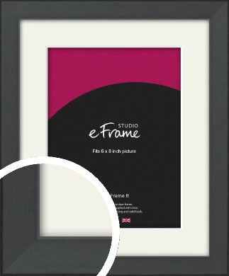 Clean Tapered Black Picture Frame & Mount, 6x8