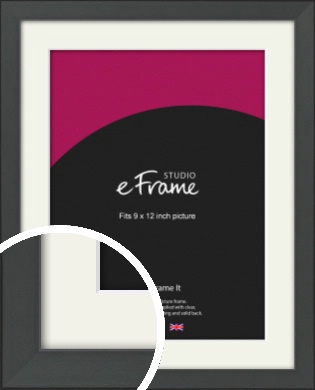 Clean Tapered Black Picture Frame & Mount, 9x12