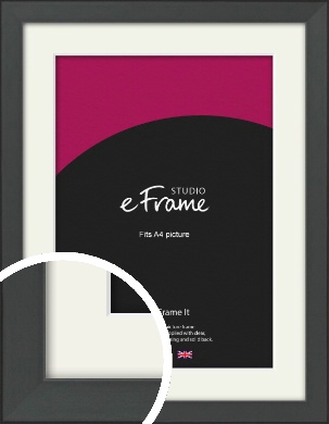 Clean Tapered Black Picture Frame & Mount, A4 (210x297mm) (VRMP-1299-M-A4)