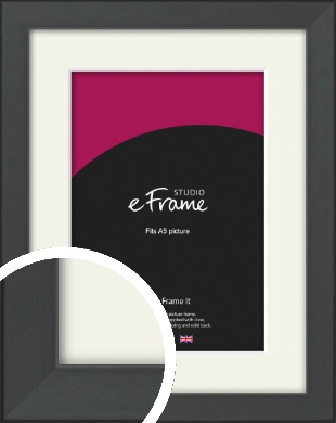 Clean Tapered Black Picture Frame & Mount, A5 (148x210mm) (VRMP-1299-M-A5)