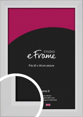 Simple Chamfered White Picture Frame, 20x30cm (8x12