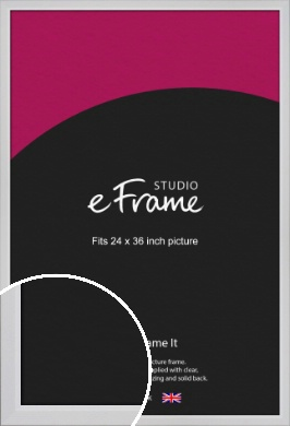 Simple Chamfered White Picture Frame, 24x36