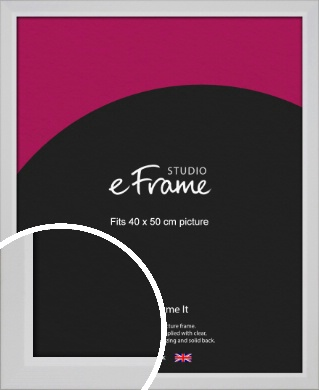 Simple Chamfered White Picture Frame, 40x50cm (VRMP-1301-40x50cm)