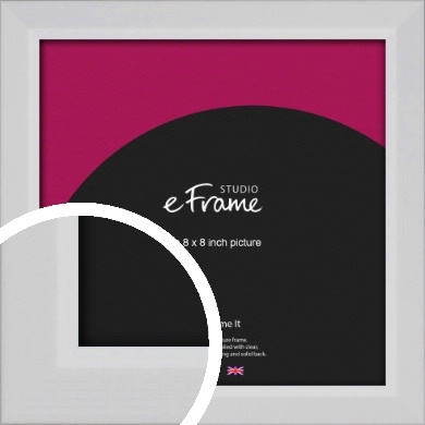 Simple Chamfered White Picture Frame, 8x8