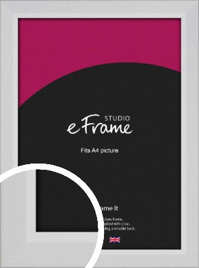 Simple Chamfered White Picture Frame, A4 (210x297mm) (VRMP-1301-A4)