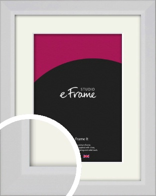 Simple Chamfered White Picture Frame & Mount (VRMP-1301-M)
