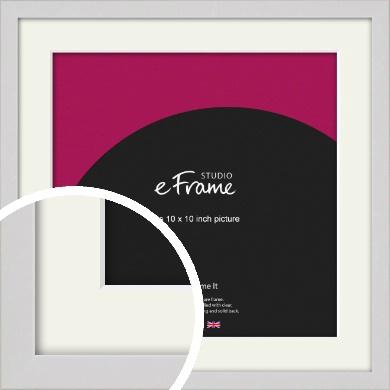 Narrow Flat Fresh White Picture Frame & Mount, 10x10