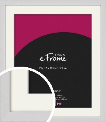 Narrow Flat Fresh White Picture Frame & Mount, 10x12