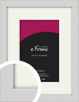 Narrow Flat Fresh White Picture Frame & Mount, 10x15cm (4x6