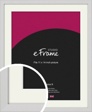 Narrow Flat Fresh White Picture Frame & Mount, 11x14
