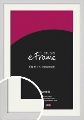 Narrow Flat Fresh White Picture Frame & Mount, 11x17