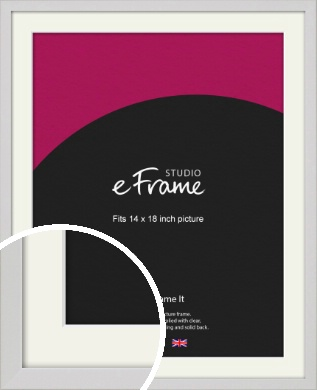 Narrow Flat Fresh White Picture Frame & Mount, 14x18