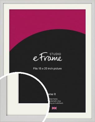 Narrow Flat Fresh White Picture Frame & Mount, 15x20