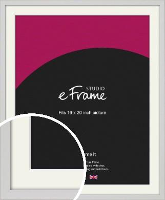 Narrow Flat Fresh White Picture Frame & Mount, 16x20