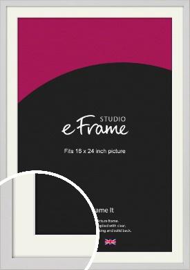 Narrow Flat Fresh White Picture Frame & Mount, 16x24