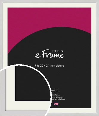 Narrow Flat Fresh White Picture Frame & Mount, 20x24