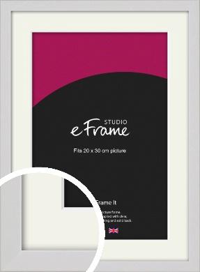 Narrow Flat Fresh White Picture Frame & Mount, 20x30cm (8x12