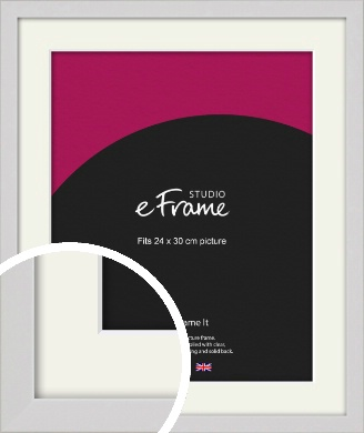 Narrow Flat Fresh White Picture Frame & Mount, 24x30cm (VRMP-1302-M-24x30cm)