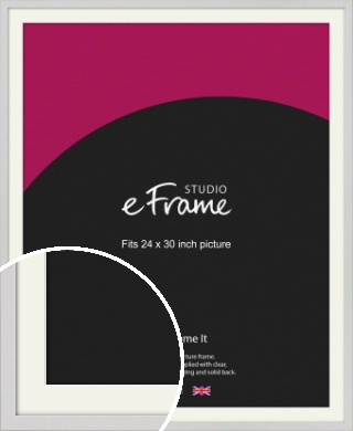 Narrow Flat Fresh White Picture Frame & Mount, 24x30