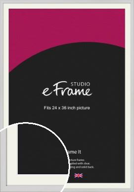 Narrow Flat Fresh White Picture Frame & Mount, 24x36